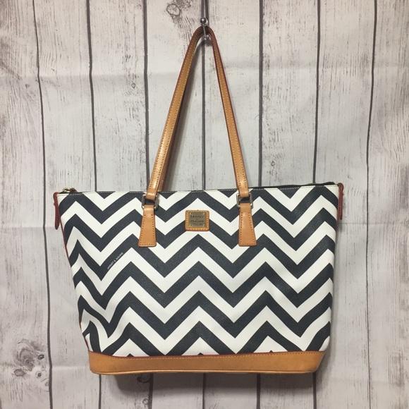 Dooney & Bourke Handbags - Dooney & Bourke Coated Cotton Chevron Tote Black